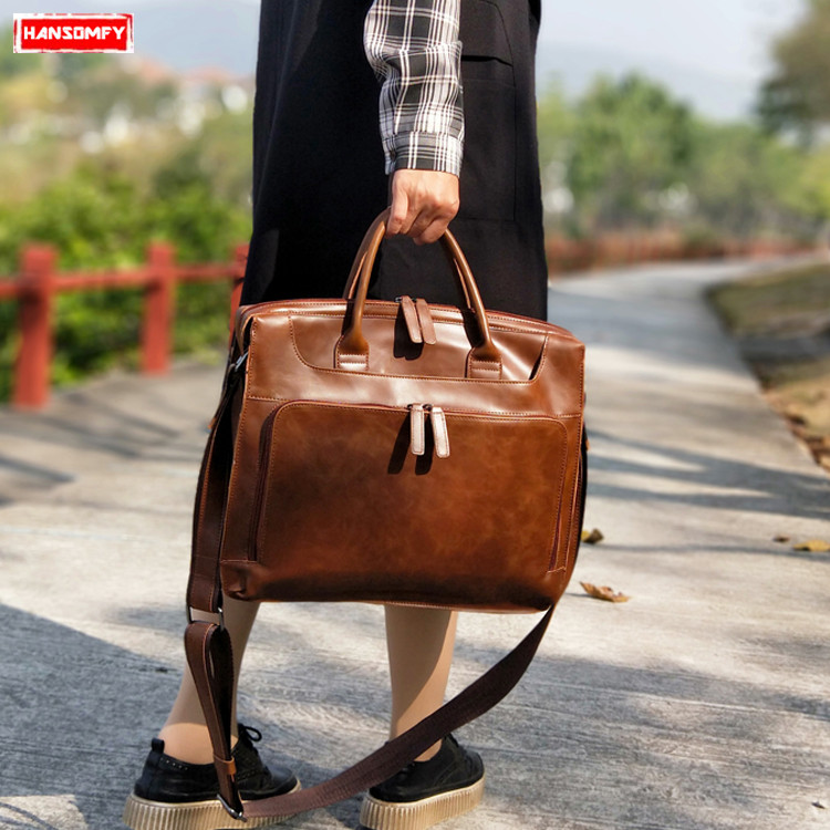 Retro women handbags business female 14 inch laptop briefcase computer bag multi layered fashion single shoulder