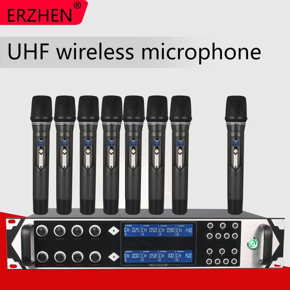 9000GTA Wireless Microphone System UHF 8-Channel Dynamic Studio Karaoke Party KTV  + Lapel