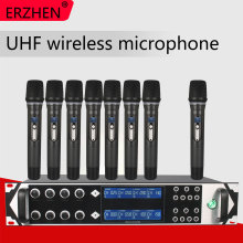9000GTA Wireless Microphone System UHF 8-Channel Dynamic Studio Microphone Wireless Karaoke Party KTV  + Lapel Microphone freeboss fb u08 2 way 200 channels pll ir uhf wireless microphone with 2 handhelds for karoke ktv party uhf dynamic microphone