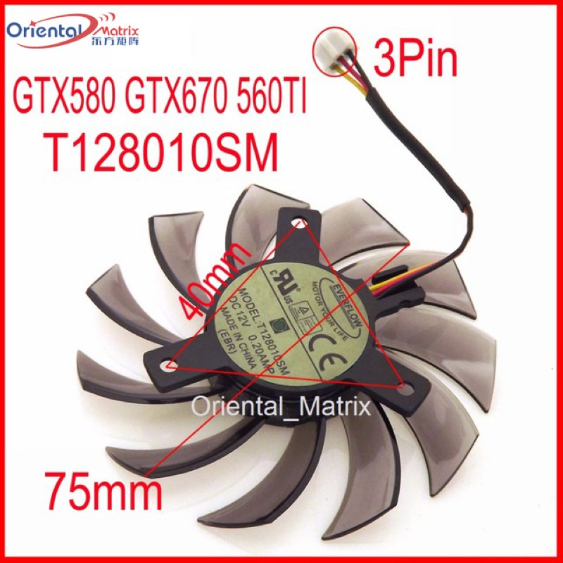 Free Shipping T128010SM 75mm 40x40x40mm 3Pin For Gigabyte GTX580 GTX670 560TI Graphics Cooling Fan