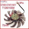 Free Shipping T128010SM 75mm 40x40x40mm 3Pin For Gigabyte GTX580 GTX670 560TI Graphics Cooling Fan