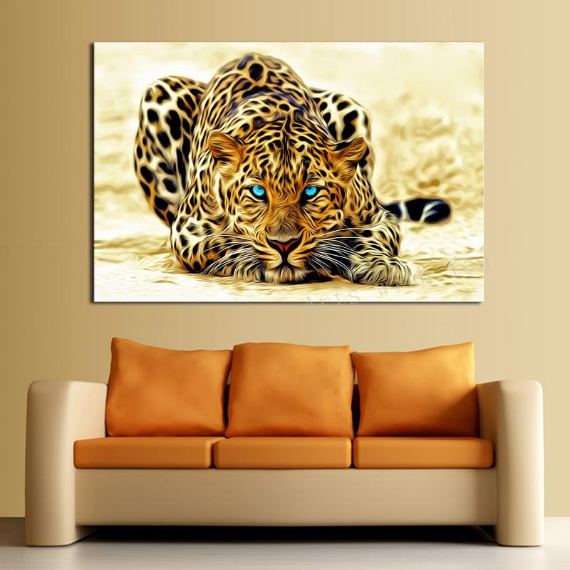 Leopard Bedroom Ideas For Painting: 1 Piece Canvas Painting Animal Leopard Picture Living Room