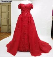 CloverBridal High Quality 3D Lace Appliques Off The Shoulder Middle East Red Wedding Dress With Outer