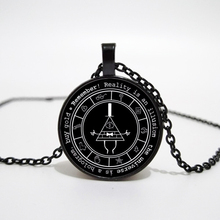Gravity Falls Mysteries Logo Necklace Pendant Bill Cipher Wheel Silver Art Handmade Vintage Gift for Kids