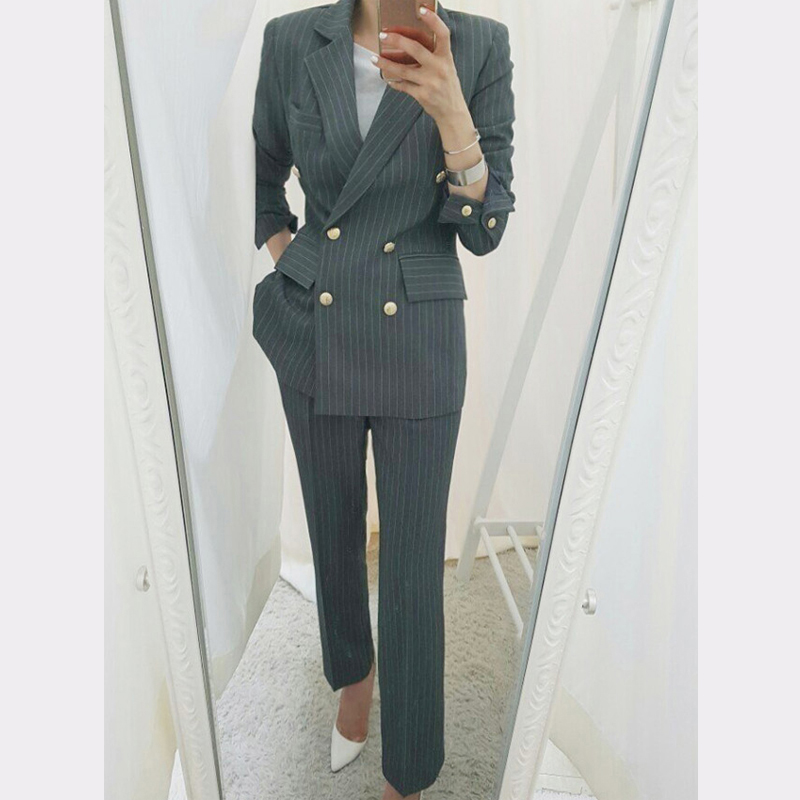 BGTEEVER Work Business Striped Women Suits Double Breasted Slim Pant Suits Blazer Jacket Pencil Pant Office