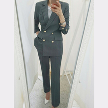 BGTEEVER Work Business Striped Women Suits Double Breasted Slim Pant Su