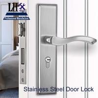 LHX Stainless Steel Handle Door Lock Modern Simple Multiple Sizes Bedroom Bathroom Wooden Door Hardware Adjustable Pitch h