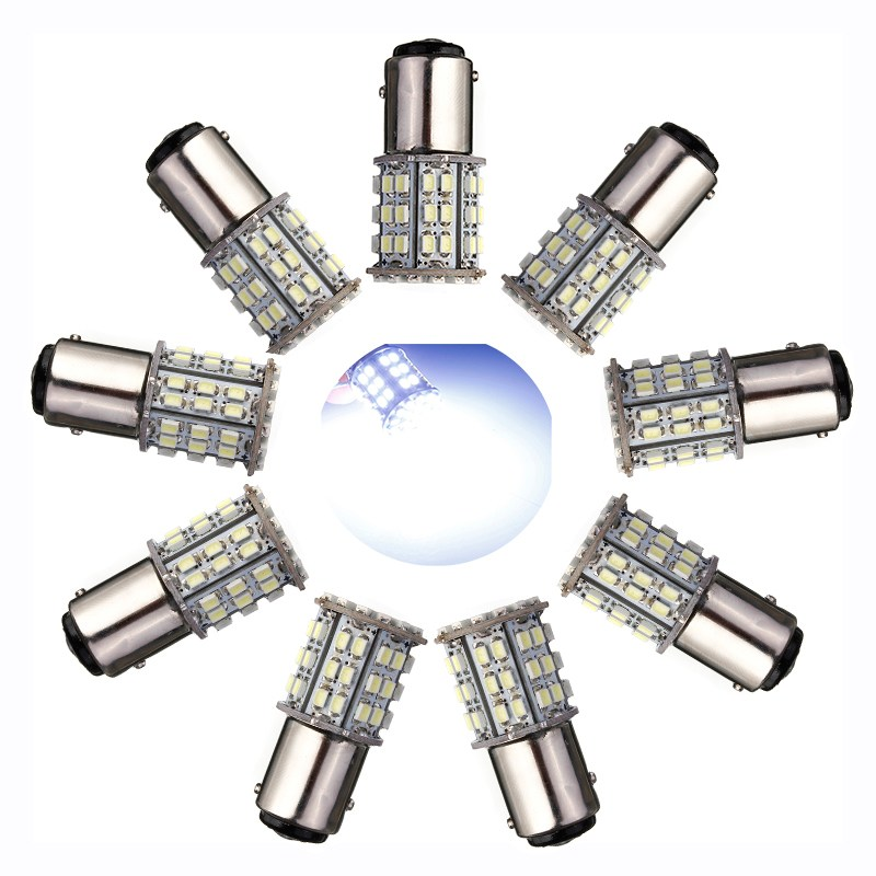 10x BAY15D 1157 64 SMD LED Super Bright Car Tail Stop Brake Light Bulb White 12v Car Signal Lamp Breake Stop Lights 64LEDS