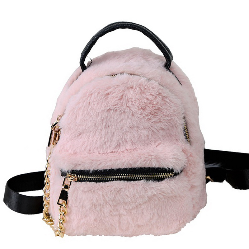 Detail Feedback Questions about Winter Women Faux Fur Backpacks Girls Pink  Bag Rabbit Hair Mini Daypack Soft Plush Leather Shoulder Bags Small Rucksack  ... e044399aefee5
