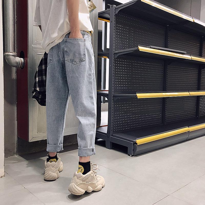 2018 New Fashion Four Seasons Loose Men   Jeans   Washed Cotton Casual Light Blue Cowboy Pants Zipper   Jeans   M-2XL Free Shipping