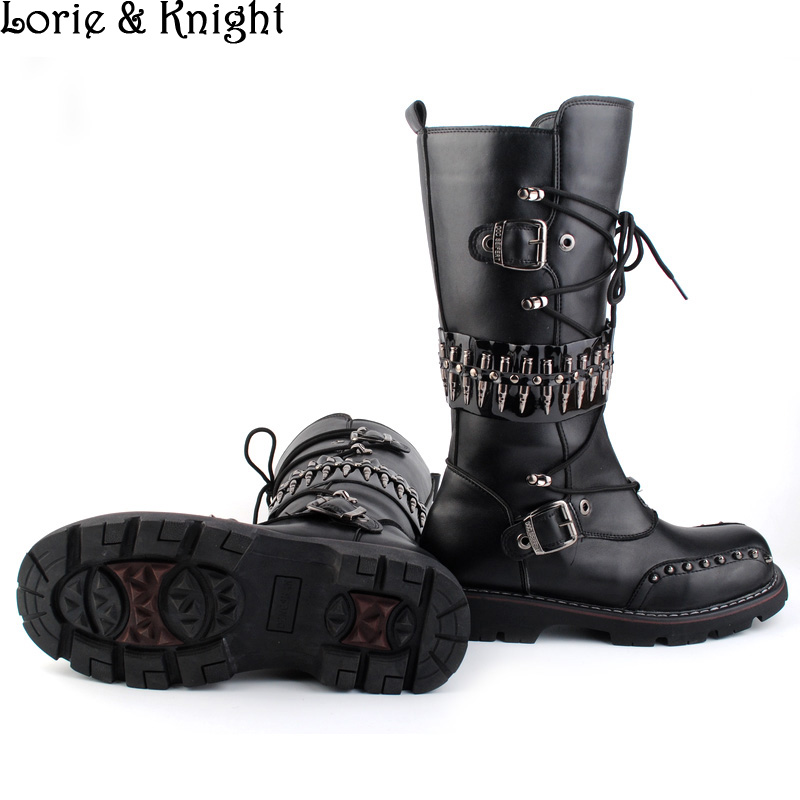 Mens Black Leather Motorcycle Boots Heavy Metal Rivet Combat Boots