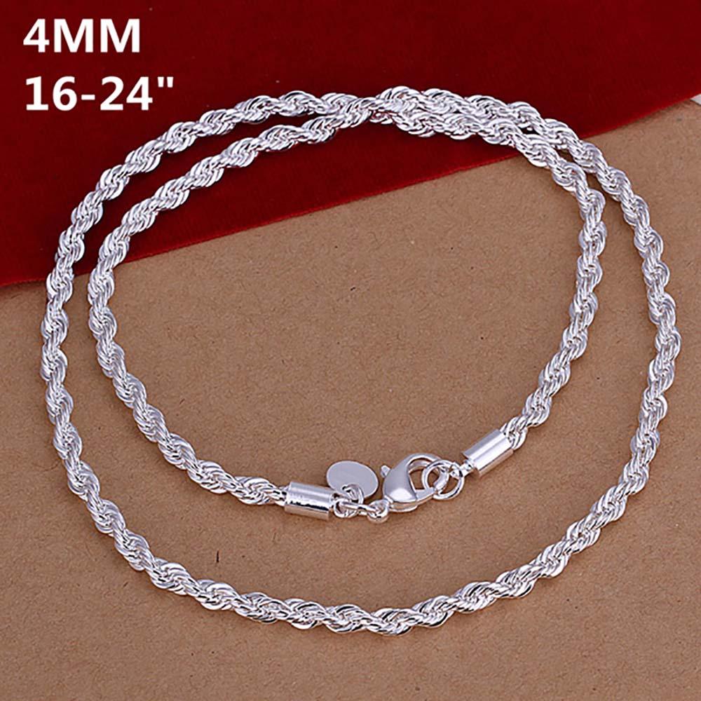 Супер блестящее ювелирное покрытое серебряное ожерелье модное 2 мм/3 мм/4 мм 16-24 дюйма женское/Мужское блестящее витое ожерелье с цепочкой