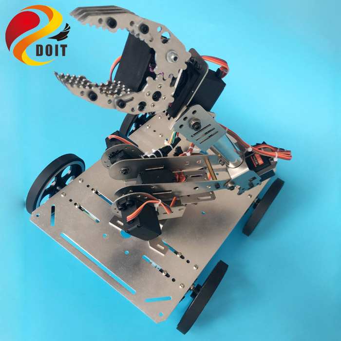 Original DOIT C600 NEW Robot Metal Smart 4wd Car Chassis with Robot Arm/Manipulator+Gripper/Paw/Claw DIY RC Toy Robotic Model original doit silver c300 metal 4wd wheel car chassis development kit remote control diy rc toy smart robot car model