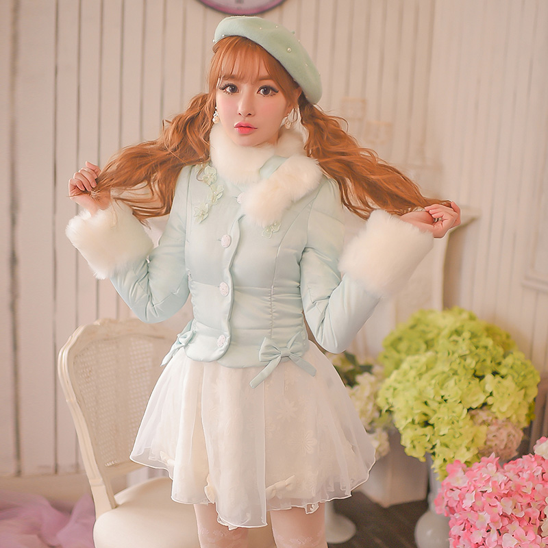 Princess sweet blue Cotton coat Candy rain Embroidery Lace Brow decoration Single breasted Sweet Japanese design