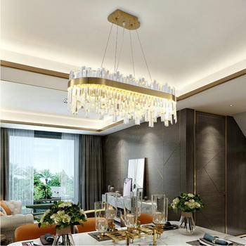 קריסטל סלון נברשת נורדי מודרני יוקרה חדר שינה מסעדה דקורטיבי אור מלבן LED אור