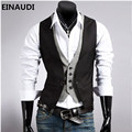 EINAUDI 2017 men's fashion casual leave two vest / male slim buttons decorative suit ma3 jia3