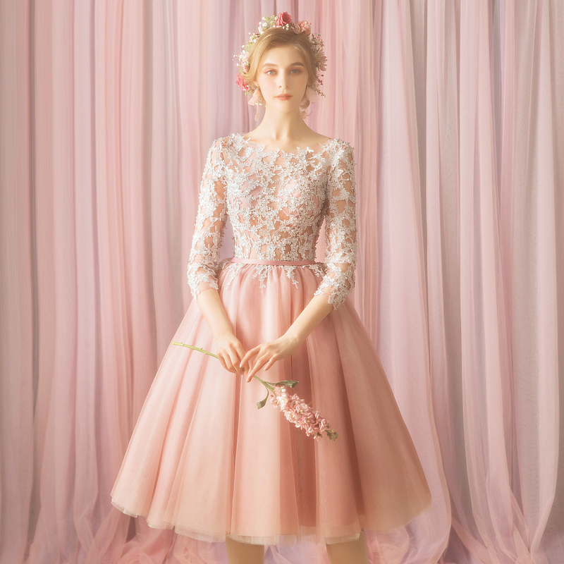 2019 Dusty Pink Tulle Three Quarter Short Prom Dress Illusion Lace Appliqued Boho Party Gowns Graduation Trendy Evening Gowns