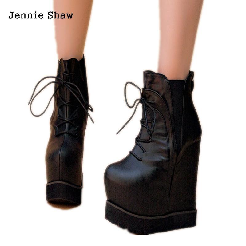 Women's Shoes Autumn Lace Ups Martin Boots High Heel 16cm Wedges Platform Women Ankle Boots
