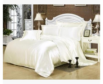 cream white silk bedding set satin california king size queen full twin quilt duvet cover fitted. Black Bedroom Furniture Sets. Home Design Ideas
