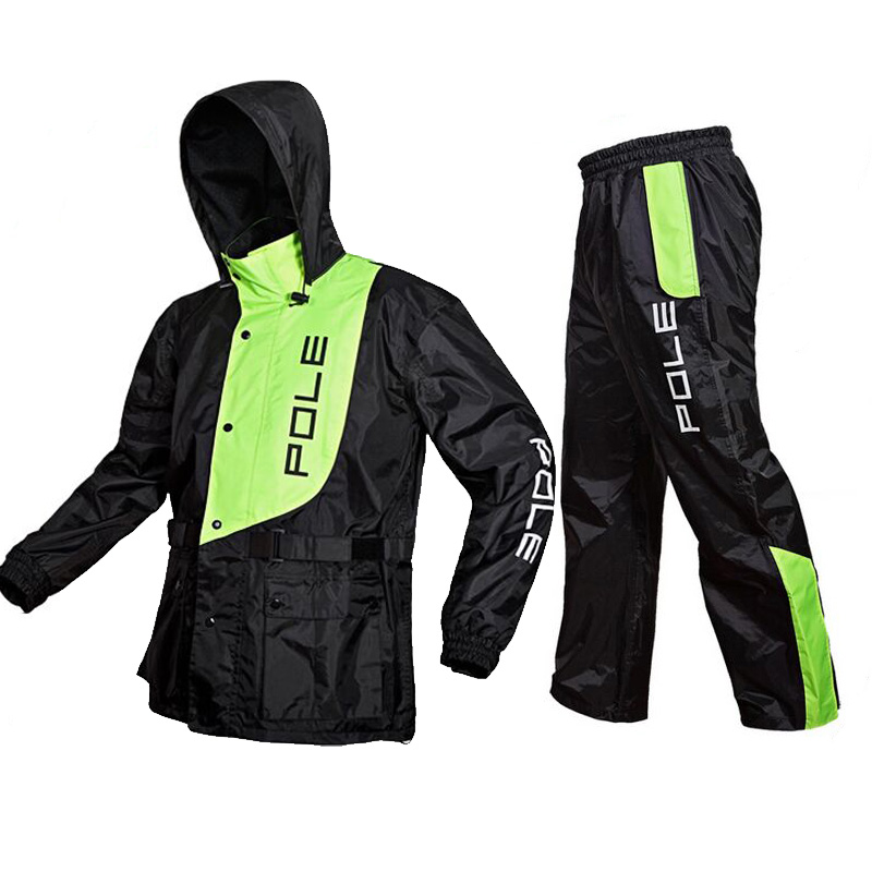 POLE one set Fashion Outdoor Sports Fishing Man Waterproof suits bicycle Raincoat Suit Motorcycle Raincoat цена