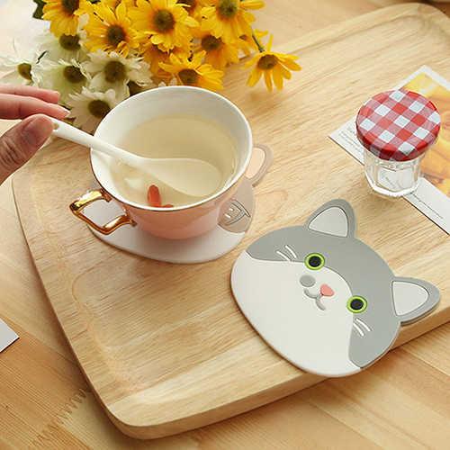 סיליקון חתול בצורת תה Coaster גביע Mat Pad ספל Mat מחזיק קפה משקאות שולחן מפיות עמיד בחום כוס תחתיות