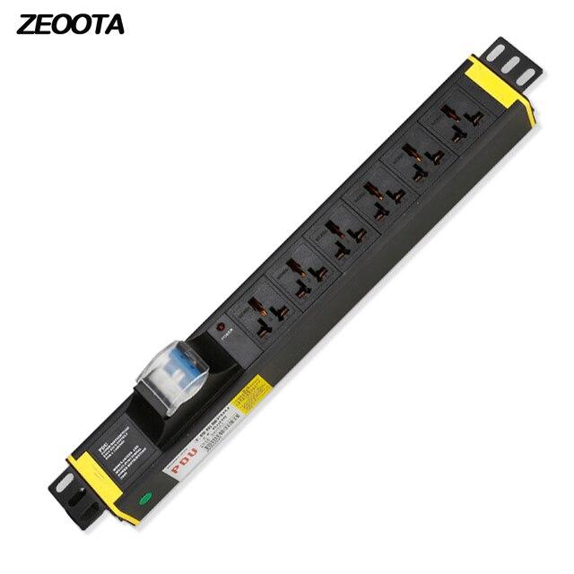 U PDU Power Strip red Cabinet enchufe Universal 10A aleación de aluminio 6 vías tomas romper interruptor 2 m extensión cable