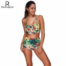 Raintropical плюс размеры купальники для малышек Push Up трусики бикини пикантные женский купальник пляжная одежда большая чашка комплект печати сплошной ванный