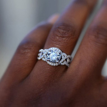 Cuteeco 2019 New Women White Gold Tone Wedding Ring Full Zircon Female Delicated Engagement Rings Jewelry Trendy Hots