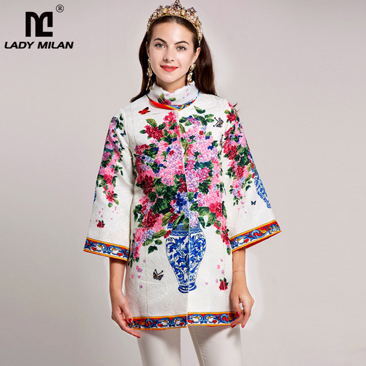 New Arrival 2018 Spring Womens O Neck 3/4 Sleeves Floral Printed Jacquard Beaded Elegant Runway Jackets Outwear with Scarf