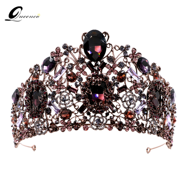 Queenco Luxury Purple Crown Crystal Wedding Tiaras Bridal Hair Accessories Vintage Crowns Beauty Vine