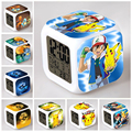 Cheap LED Alarm Clocks Wake up Kids Gifts 7 colors Led night light toys Pikachu Squirtle action figures Toy
