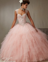 Cheap Vintage Quinceanera Gowns Sweet 16 Princess 15 White Blue Pink Quinceanera gown Online 2018 Ball Gown Plus SIze