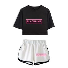 New BLACKPINK Two Piece Set Summer Sexy 2018 Cotton Printed T shirt Album Woman Suit Shorts Crop BLACKPINK Fashion Tops+Short(China)