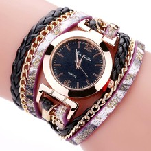 FANTEEDA New Women Quartz Watches Multi Layers Bracelet Watch PU Leather Weave Wrap Wristwatch TT@88