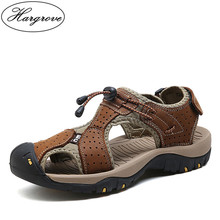 Hargrove Hot Sale New Fashion Summer Leisure Beach Men Shoes High Quality Leather Sandals The Big Yards Men's Sandals Size 38-45