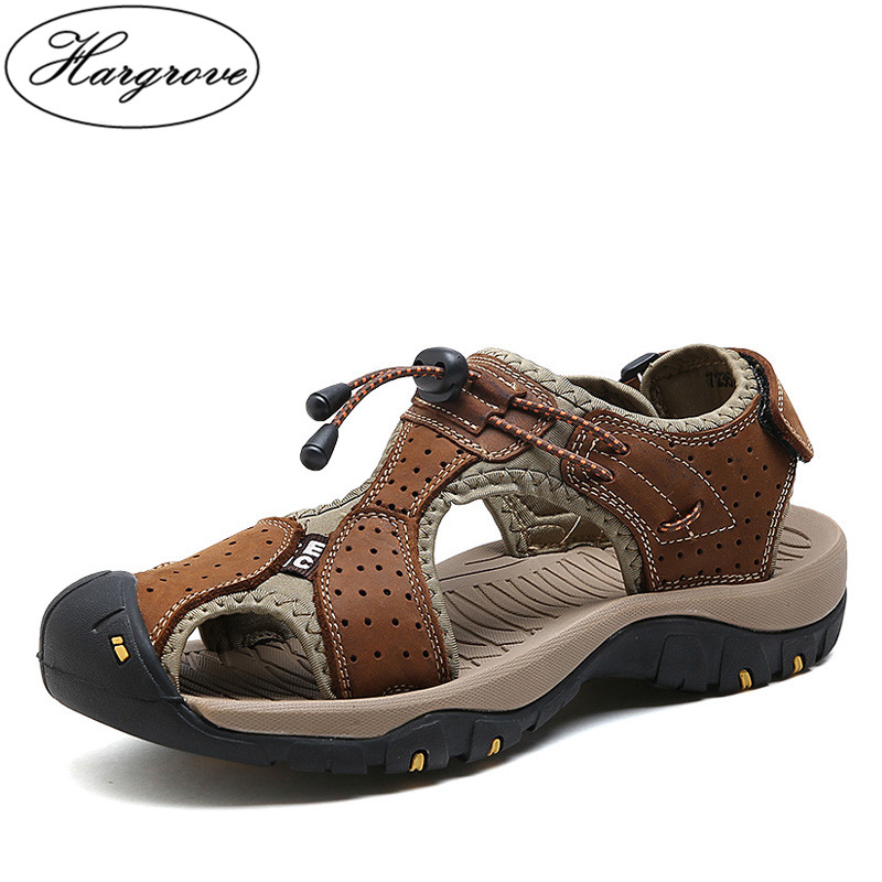 Hargrove Hot Sale New Fashion Summer Leisure Beach Men Shoes High Quality Leather Sandals The Big Yards Mens Sandals Size 38-45