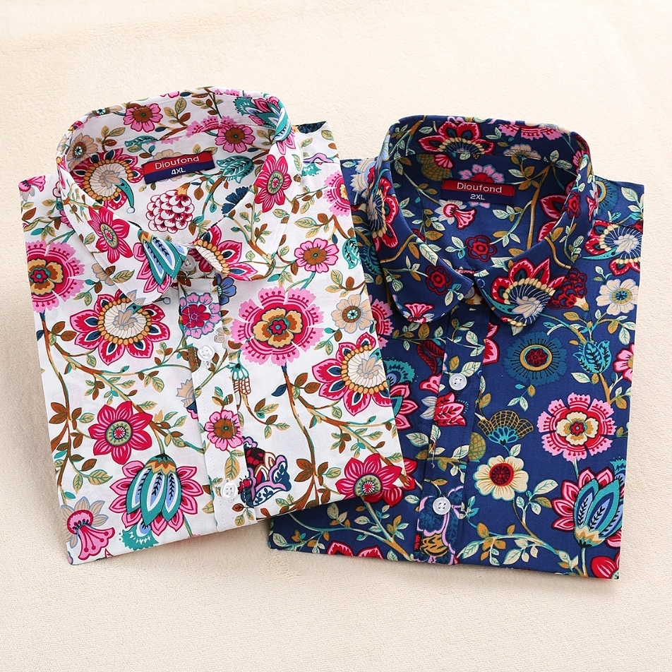 Dioufond Harajuku Print Blouses Women Shirts Cotton Full Sleeve Ladies Tops Floral Blouse Big Sizes Clothing Female Top Shirt