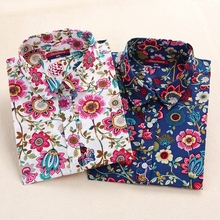Dioufond Harajuku Print Blouses Women Shirts Cotton Full Sleeve Ladies Tops Floral Blouse Big Sizes Clothing