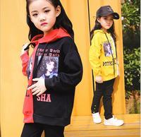 Girls' Autumn New Korean hat, color matching sweater, alphabet head print tight pants, big boy two piece.girls cloth set 2 piece