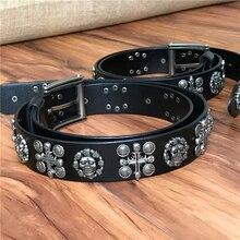 Cráneo cinturones para hombres de Metal pesado Vintage Punk remache cinturón  Jeans cinturones de cuero de los hombres de Correa . e455ff69624a