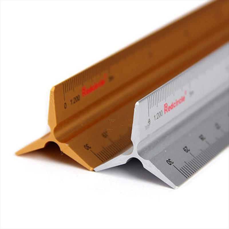 Red Circle Triangular Scale Ruler 30cm Aluminium Alloy 1:50-400 For Graphics Design