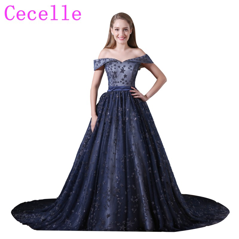 Online Shop Sparkly Stars Ball Gown Navy Blue Prom Dress off the ...