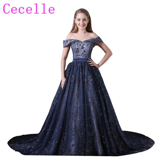Sparkly Stars Ball Gown Navy Blue Prom Dress Off The Shoulder 2018