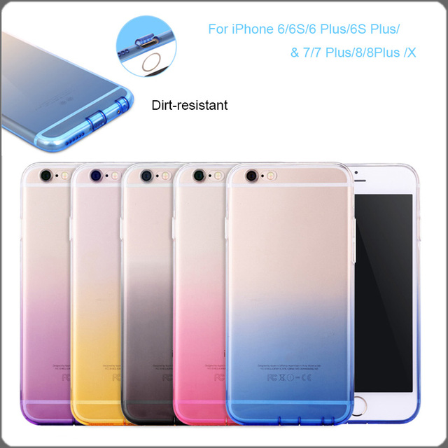 1374adfb72 Case For iPhone 6 6S 6Plus 6SPlus 7 8 Plus X TPU Soft Simple Mobile Case  For iPhone 7P 8Plus All-inclusive Shell Gradient Color