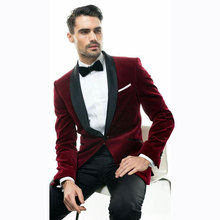 Burgundy Velvet Men Suits for Wedding Smoking Jacket Custom Made Groom Tuxedos Slim Fit Terno Blazer Masculino 2piece Coat Pants