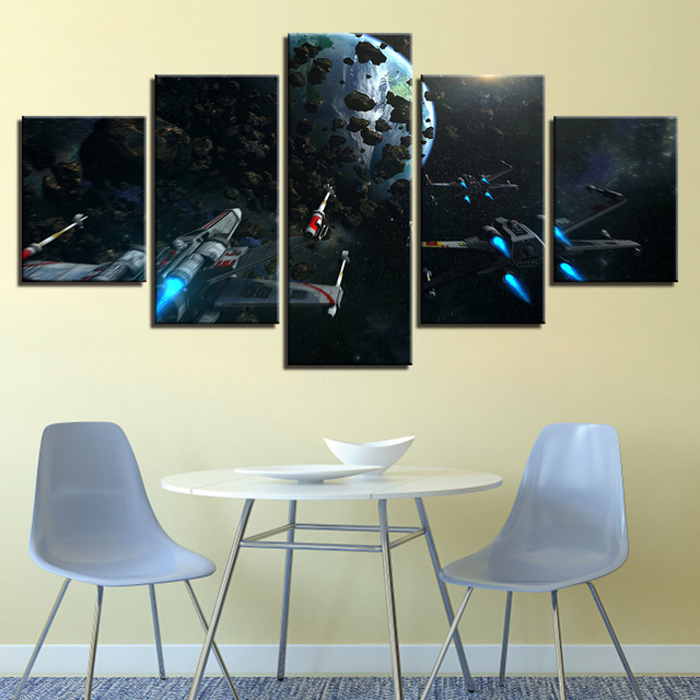 5 Pieces Canvas Painting Star Wars Tableau Fighting Wall Art Print Framed Home  Decor Picture For Kids Room
