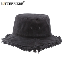 BUTTERMERE Men Black Bucket Hat Japanese Cotton Classic Cool Fishing Hats Female Foldable Casual Stylish Hip Hop Caps