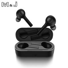 M & j 새로운 tws 미니 블루투스 이어폰 무선 헤드셋 헤드폰 블루투스 5.0 스테레오 스포츠 이어폰, iphone andorid 용 마이크 포함