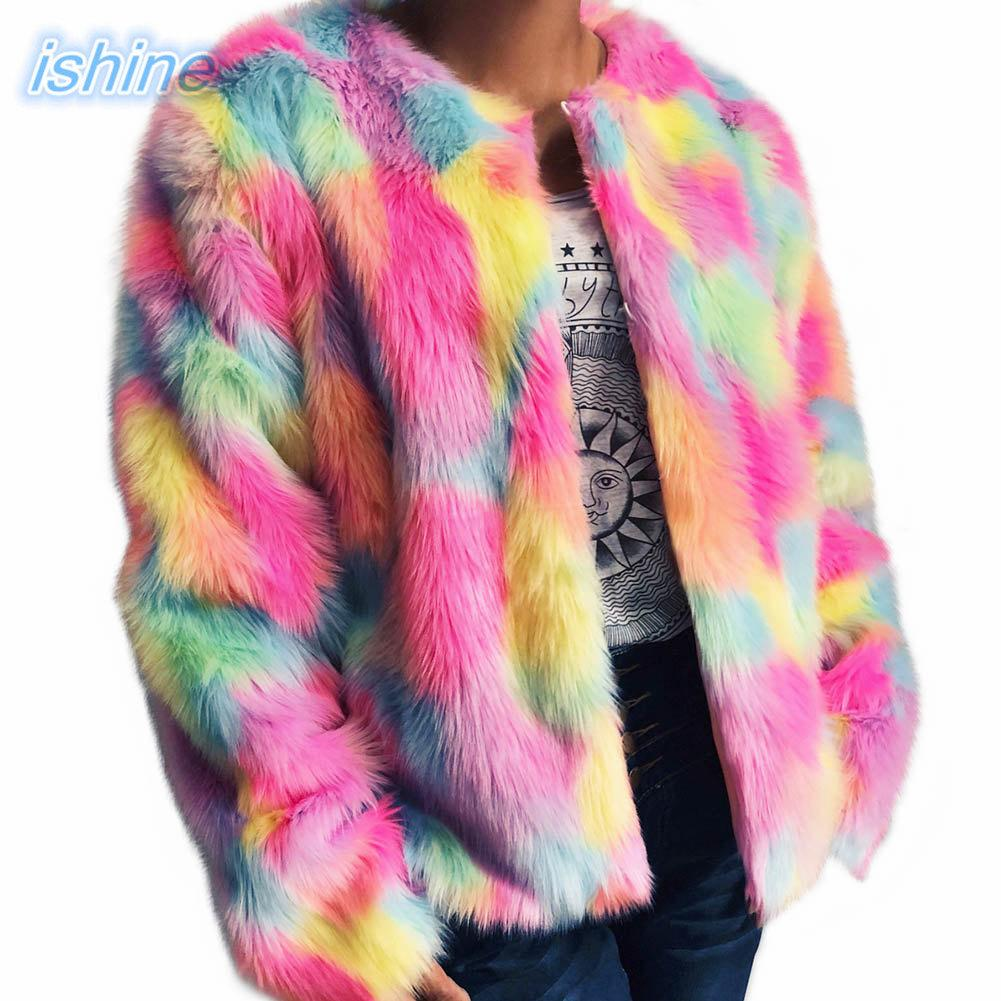 Women Elegant Fur Coats Colorful 2018 New Sliming Faux Fur Coat Long Sleeve O Neck Casual Woman Fur Outerwear Winter Warm