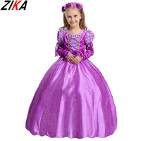 ZIKA Princess Dress Nylon Cotton 2017 Choldren Clothes Rapunzel Sophia Kids Cosplay Costume Masquerade Ball Gowns
